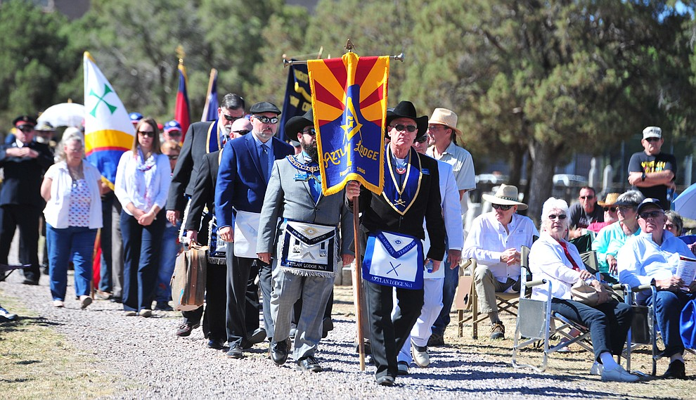 Fraternal groups and goverment officials march in a procession to open the Citizens Cemetery Memorial Day program Monday, May 28, 2018 in Prescott Prescott. (Les Stukenberg/Courier)