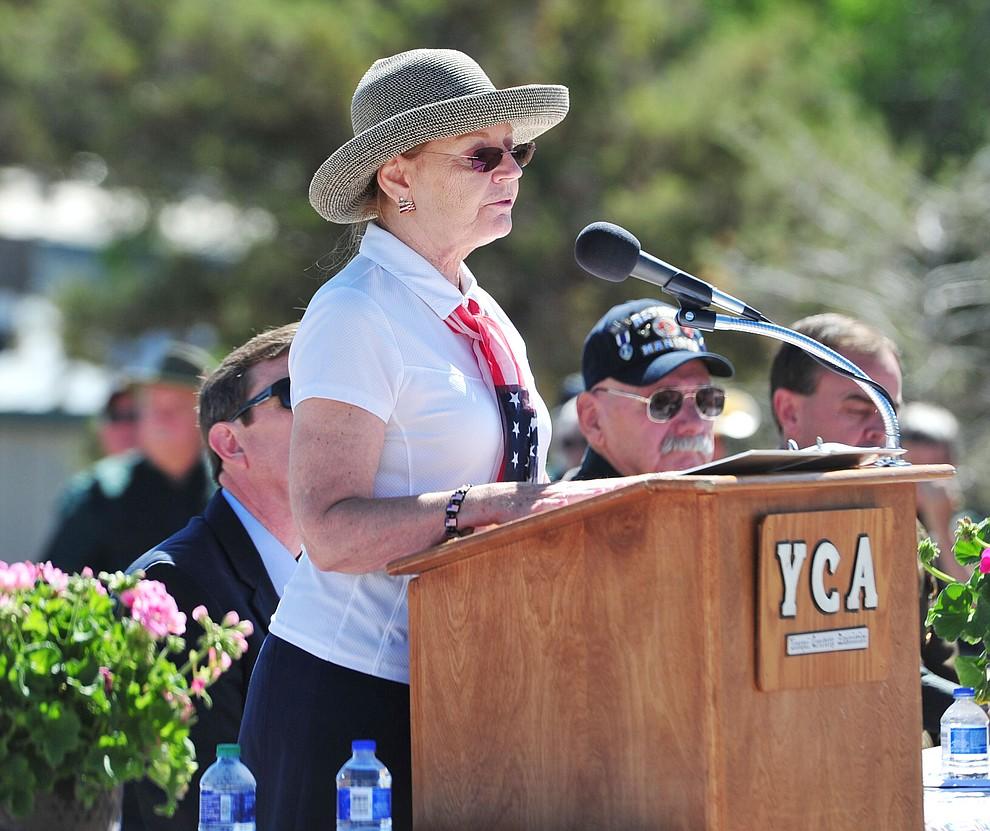 Arizona State Senator Karen Fann gives opening remarks at the Citizens Cemetery Memorial Day program Monday, May 28, 2018 in Prescott Prescott. (Les Stukenberg/Courier)