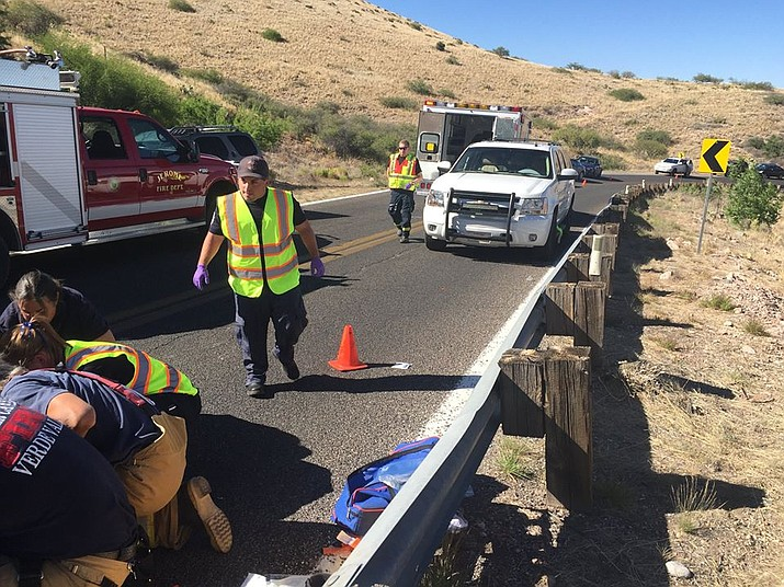 A 63-year-old Cottonwood man lost control of his motorcycle and hit a guardrail along 89A between Clarkdale and Jerome Friday afternoon, according to officials. Photo courtesy of Jerome Police Chief Allen Muma