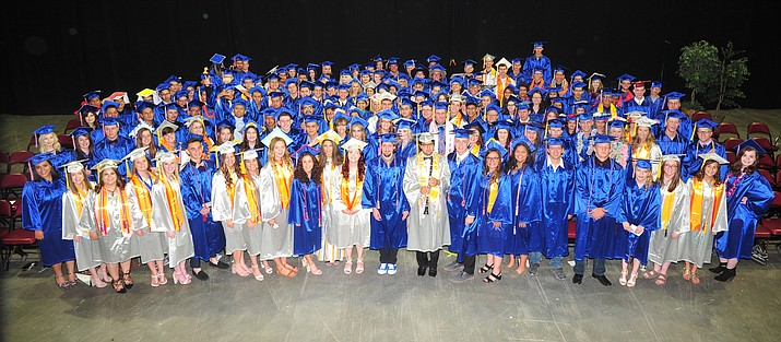 The Chino Valley High School Class of 2018 Cougars pose before their commencement ceremony at the Prescott Valley Event Center Wednesday, May 23, 2018. (Les Stukenberg/Review)