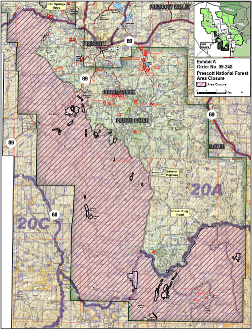 A map showing which parts of the Prescott National Forest will be closed as of 8 a.m. Friday, June 1.