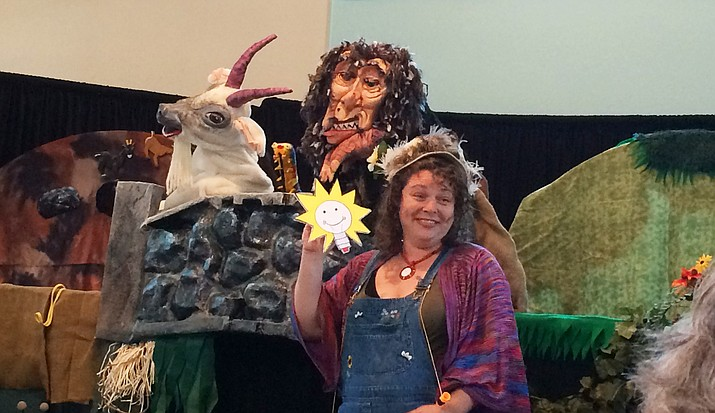 "Meg Bohrman, of the Birdhouse Puppet Theater, is pictured Sunday, May 27, 2018, at the Prescott Unitarian Universalist Fellowship. She will present the ""Three Billy Goats Gruff"" at 11 a.m. Saturday, June 2, at the Prescott Public Library, 215 E Goodwin St., in the Founders Suite, on the lower level. The event -- free and open to the public -- kicks off the library's summer reading program for children. (Sue Tone/Courier)"