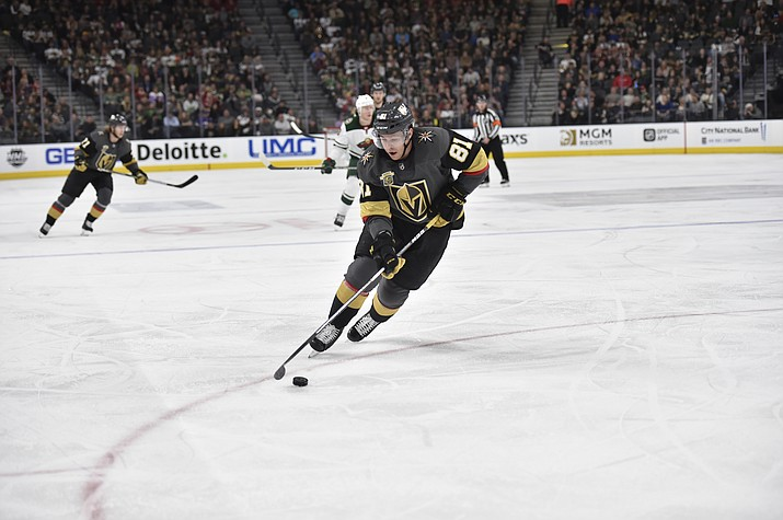 Vegas Golden Knights forward Jonathan Marchessault skates against the Minnesota Wild during the game at T-Mobile Arena March 16 in Las Vegas, Nevada. It was a a hit on Marchessault that inspired the Knights to their Game 1 win. (Photo by David Becker/NHLI via Getty Images)