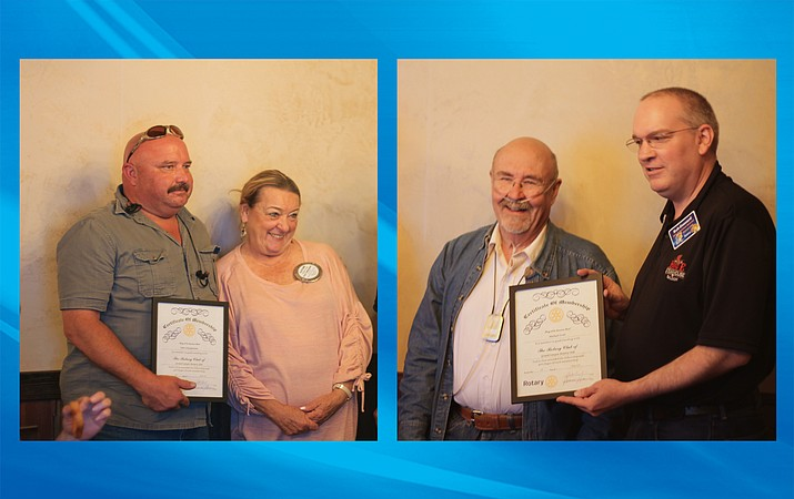 Michael Scott and John Schoppmann inducted into the Grand canyon Rotary on the Rim at the group's May 9 meeting. (Erin Ford/WGCN)