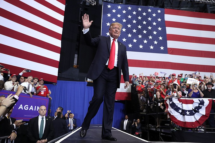 President Donald Trump arrives to speak at a rally Tuesday, May 29, 2018, in Nashville, Tenn. (AP Photo/Andrew Harnik)
