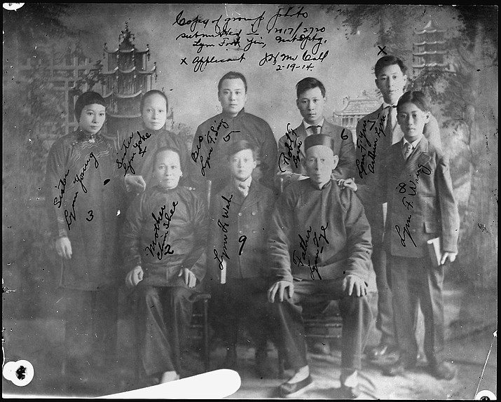 "In addition to records generated by federal agencies, immigration agency investigative case files related to the Chinese Exclusion Acts (1882-1943) frequently contain documents collected by the agencies as evidence, such as individual and family photographs. This is one of two photographs of the family of Lim Lip Hong, also known as Lim (or Lym) Tye,"" found in this case file, which concerns the departure of aviator Lim Lip Hong, also known as Arthur F. Lym, for China. The photograph was ""brought forward"" with other documents into a new case from an earlier departure investigation case file. The older case covered a previous trip from which the subject, known on his business card as ""Aviator, skilled in Aero and Hydro Flying, FAI License 245,"" returned safely to the U.S. (Department of Justice, National Archives, public domain)"