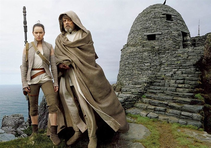 Daisy Ridley as Rey and Mark Hammill as Luke Skywalker in Star Wars: The Last Jedi. (Photo courtesy of Disney/Lucasfilm)
