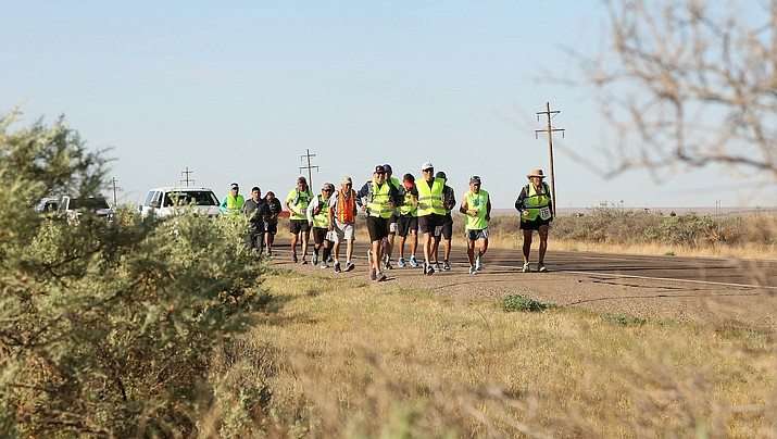 Running for Resilience reaches the Stage 1 Day 1 destination of Santa Rosa, N.M. The runners ran 45 miles on Day One. (Navajo Nation Office of the President and Vice President)