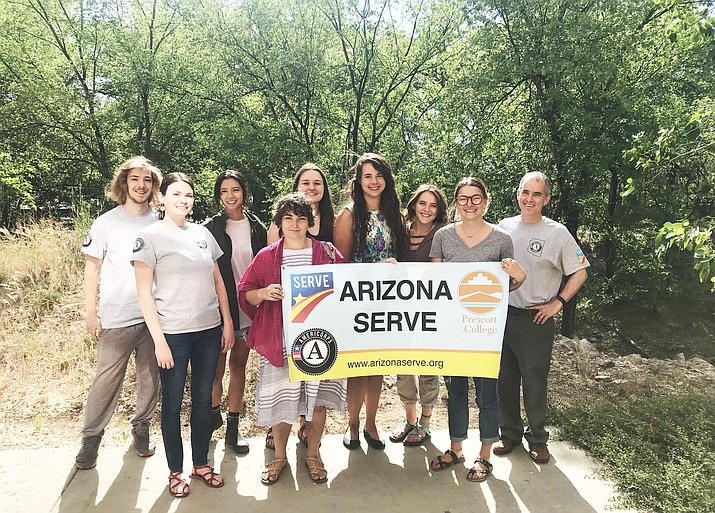 Seven AmeriCorps state members began service Monday, May 21, 2018, at local nonprofits The Launch Pad, Youth Conservation Corps and West Yavapai Guidance Clinic. Pictured at Prescott College, from left, are Chriswalk Kroger, assigned to The Launch Pad; Erika Stone, recruitment and communications manager for Arizona Serve; Gabby McMillan, assigned to The Launch Pad; Saralyn Barstard, assigned to Youth Conservation Corps; Sierra Cottle, assigned to The Launch Pad; Carlee Landis, assigned to West Yavapai Guidance Clinic; Olivia Potter, assigned to The Launch Pad; Hayley Michael, assigned to Youth Conservation Corps; and Rich Ormond, internship coordinator for Arizona Serve and Prescott College. (Annie Reifsnyder/Courtesy AmeriCorps)