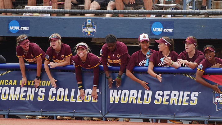 ASU's bench cheers on the Sun Devils during their 11-6 loss to Oregon Thursday. (Photo courtesy ASU Athletics)