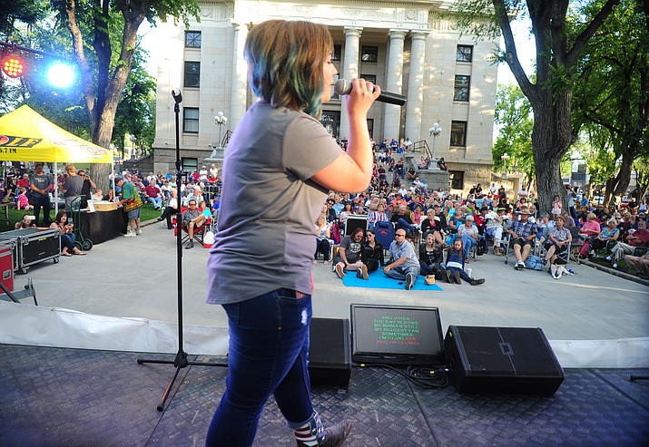 "Samantha Hellborn sang ""Who am I"" during the first round of Prescott Idol 2017, held on Thursday, June 1, on the Yavapai County courthouse plaza in front of a crowd estimated at around 650 people. (Les Stukenberg/Kudos file)"