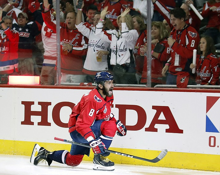 Washington Capitals forward Alex Ovechkin, of Russia, celebrates his goal against the Vegas Golden Knights during the second period in Game 3 of the NHL hockey Stanley Cup Final, Saturday, June 2, 2018, in Washington. (AP Photo/Alex Brandon)
