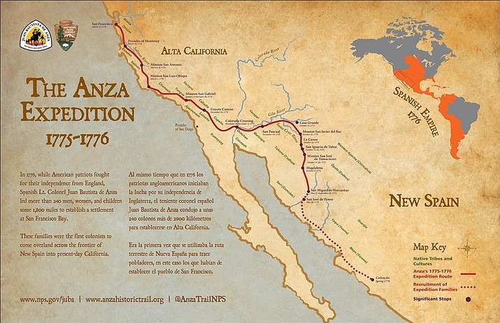 Map of The Anza Expedition 1775-1776 (National Park Service/courtesy)
