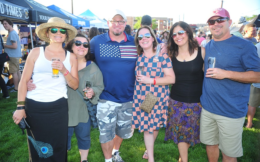 Monica Columbo, Nancy Jauregui, Brian and Jennifer Wisely and Diana and Tony Cloumbo along with 3000 other people attend the Prescott Area Young Professionals 8th annual Party in the Pines at Prescott Mile High Middle School in Prescott Saturday, June 2, 2018. (Les Stukenberg/Courier)
