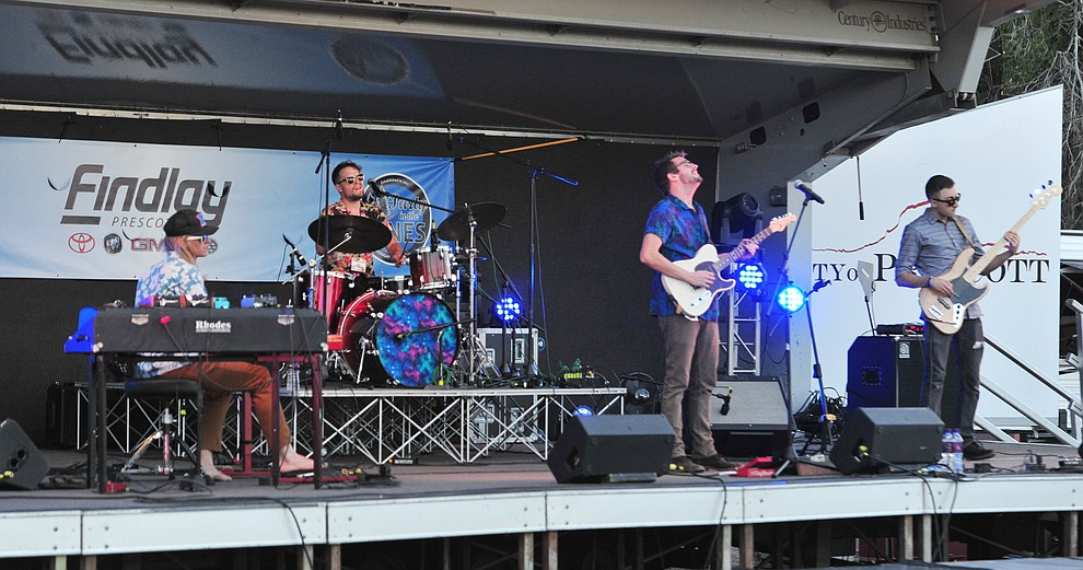Scandalous Hands performs at Prescott Area Young Professionals 8th annual Party in the Pines at Prescott Mile High Middle School in Prescott Saturday, June 2, 2018. (Les Stukenberg/Courier)