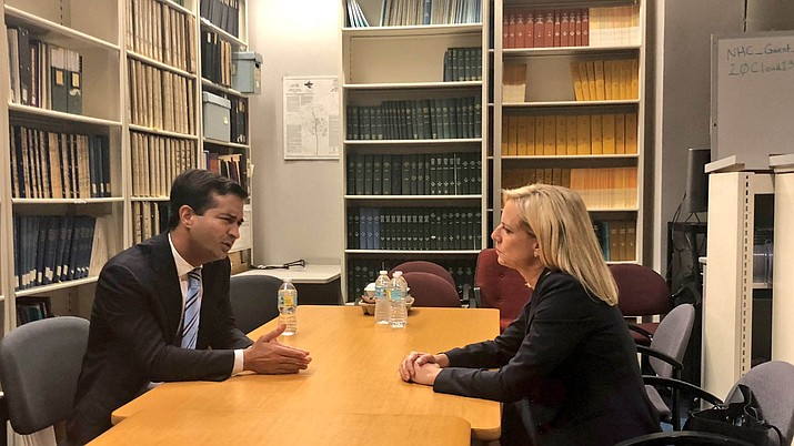 Rep. Carlos Curbelo, R-Fla., met with Homeland Security Secretary Kirstjen Nielsen about immigration reform. Curbelo has helped launch a petition drive that would force House votes on four immigration bills, ranging from liberal to conservative versions. (Photo courtesy Rep. Carlos Curbelo Twitter)