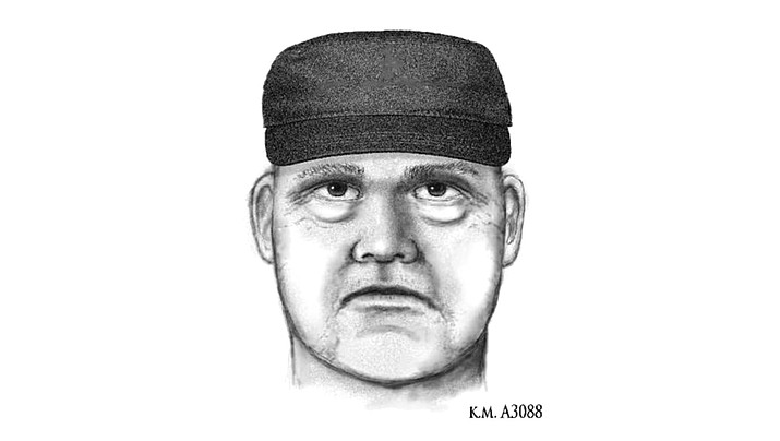 A sketch of the suspect in the first of three shooting deaths in Phoenix. It shows a white man wearing a dark hat. (Phoenix Police Department)