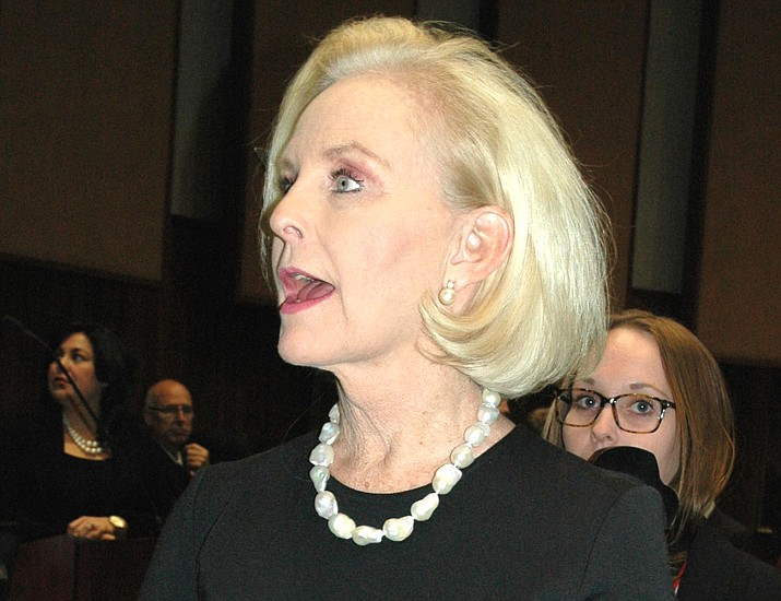 Cindy McCain, wife of Arizona Republican U.S. Sen. John McCain speaks to reporters prior to Gov. Doug Ducey's State of the State address in January. (Capitol Media Services 2018 file photo by Howard Fischer)