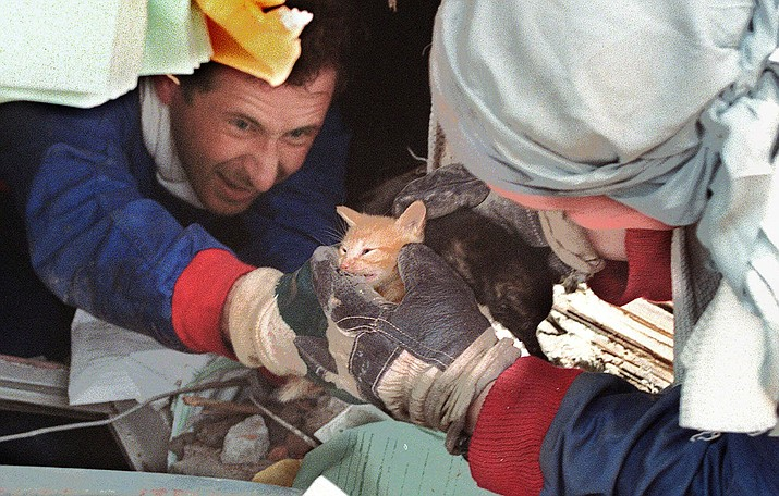 On Feb. 3, 1999, rescuers with Russia's Emergency Situations Ministry were pictured with kittens they saved from the wreckage caused by an earthquake in the Colombian town of Armenia. Russia's Emergency Situations Ministry has sent rescue crews all over the globe to help in times of need. (Tanya Makeyeva/AP, file)