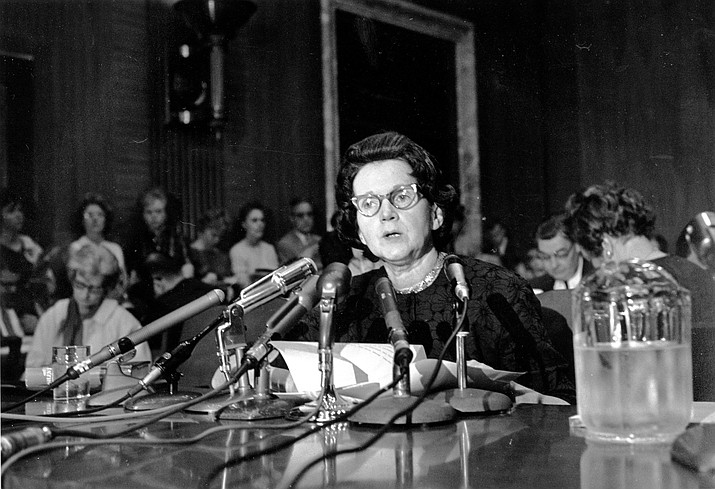 "Activist and author Rachel Carson — whose book ""Silent Spring"" led to a study of pesticides and rules restricting their use — testifies before a U.S. Senate Government Operations Subcommittee in Washington, D.C. on June 4, 1963. Carson urged Congress to curb the sale of chemical pesticides and aerial spraying. (AP file photo)"