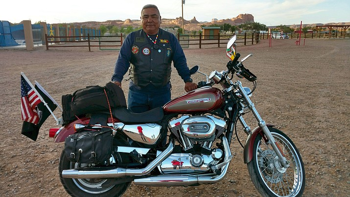 Desert Storm veteran Rod Duwala, from the Hopi Tribe, stands behind his Harley Sportster at the Kayenta Recreation Park May 18. (Photo by Geri Hongeva-Camarillo)