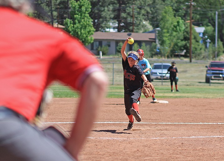 Kai Mortensen pitches during the TOC championship game with Prescott Valley June 2. Williams lost 12-11.  (Wendy Howell/WGCN)