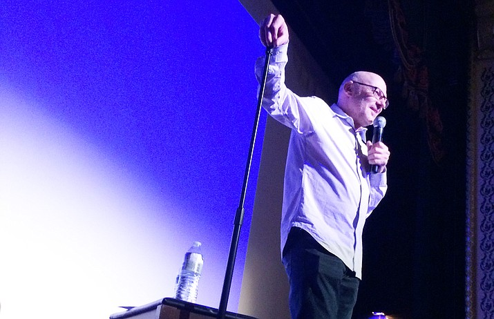 """Comic and mental health counselor David Granirer from Vancouver, Canada, performed at a West Yavapai Guidance Clinic Foundation benefit titled """"Getting the Laughs You Need: Laughing Your Way to Good Mental Health."""" The event was held at Elks Theatre on Friday, June 1, 2018. (Nanci Hutson/Courier)"""