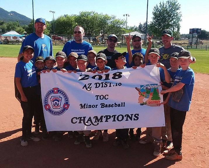 Magnum Dental of the Prescott Little League claimed the 2018 Tournament of Champions minors division title with a 9-7 win over Verde Valley on Sunday, June 3, in Williams. Nathaniel Molnar earned the save after pitching 2-2/3 innings without allowing a run and J.T. Schwartz recorded the game-winning hit the top of the sixth inning with an RBI double, scoring Matthias Molnar to cap a three-run rally after trailing 7-6. Magnum Dental was 16-2 overall this season. (PLL/Courtesy)