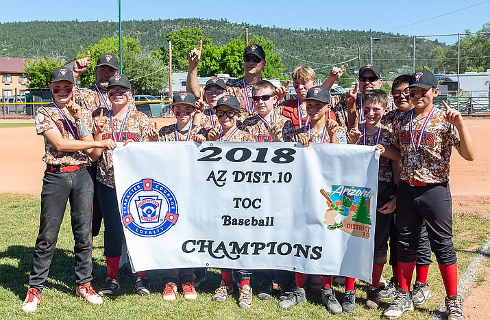 PHOTO: Prescott Valley poses for a team photo after claiming a 5-3 victory over Verde Valley in the annual Tournament of Champions title game Sunday, June 3, 2018, in Williams. (PVLL/Courtesy)