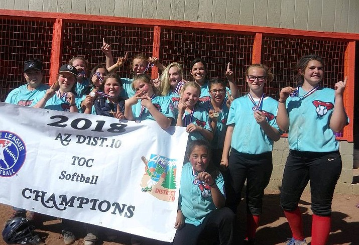 Team Battitude of the Prescott Valley Little League poses for a photo after claiming the 2018 Tournament of Champions softball majors division title with a 13-12 victory over Williams on Saturday, June 2, in Williams. Prescott Valley beat Chino Valley 14-1 in the tournament opener to advance to the title game as Taylor Ohagan pitched a one-hit shutout. (PVLL/Courtesy)