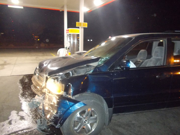 Mohave County Sheriff's deputies came upon this damaged blue SUV after receiving a call that it had been driven into a truck stop on Blake Ranch Road Monday night. (Photo courtesy MCSO)