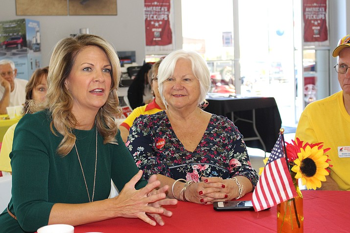 Kelli Ward, former state senator running for U.S. Senate, talks about her campaign issues Wednesday during a short stop at Martin Swanty auto dealership in Kingman. She's in favor of term limits, protecting the Second Amendment and enforcing immigration laws. (Hubble Ray Smith/Daily Miner)