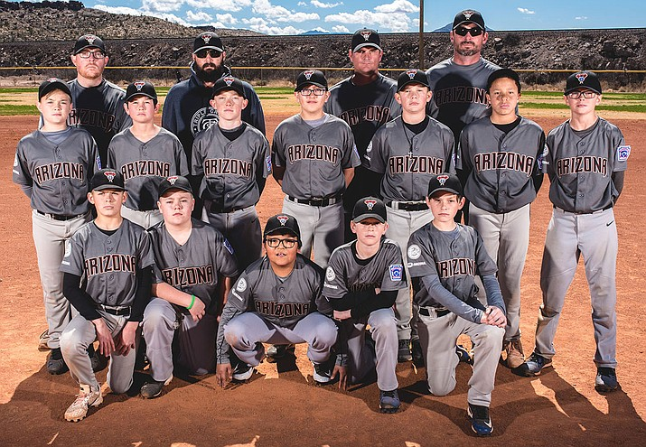 The Kingman North Little League Majors squad opens the Tournament of Champions at 8 p.m. today against Mohave Valley at Southside Park. Front row from left, Kruz Yocum, Cody Crowl, Kellen Sinyella, Keegan Parlanti and Gavin Campbell. Middle row from left, Bryce Shields, Casen Short, Noah Petrauschke, Jeremy Steed, Deagan Sutherland, Keygun Field and Cade Benson. Back row from left, coach Steve Petrauschke, coach Drew Sutherland, coach Jerome Heitzman and manager Chad Benson (Courtesy photo)