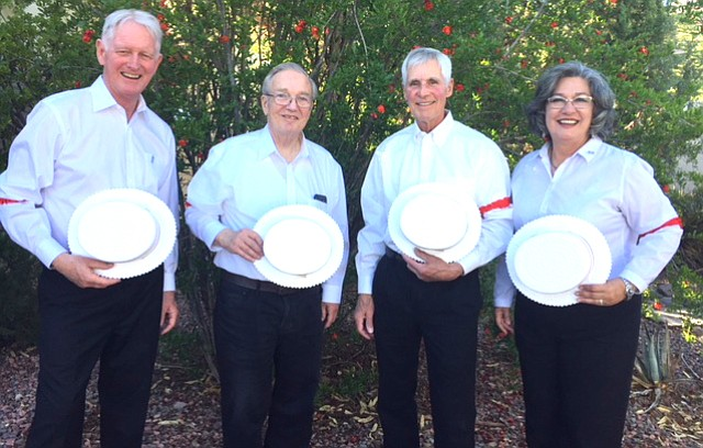 Surround Sound:  From left:  Kit (Baritone), Bob (Bass), Wally (Lead) and Luci (Tenor).