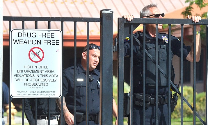 """Sedona police went from building to building at the West Sedona School Wednesday morning following a report of a """"suspicious person"""" near the school. The school was on lockdown for about one hour. VVN/Vyto Starinskas"""