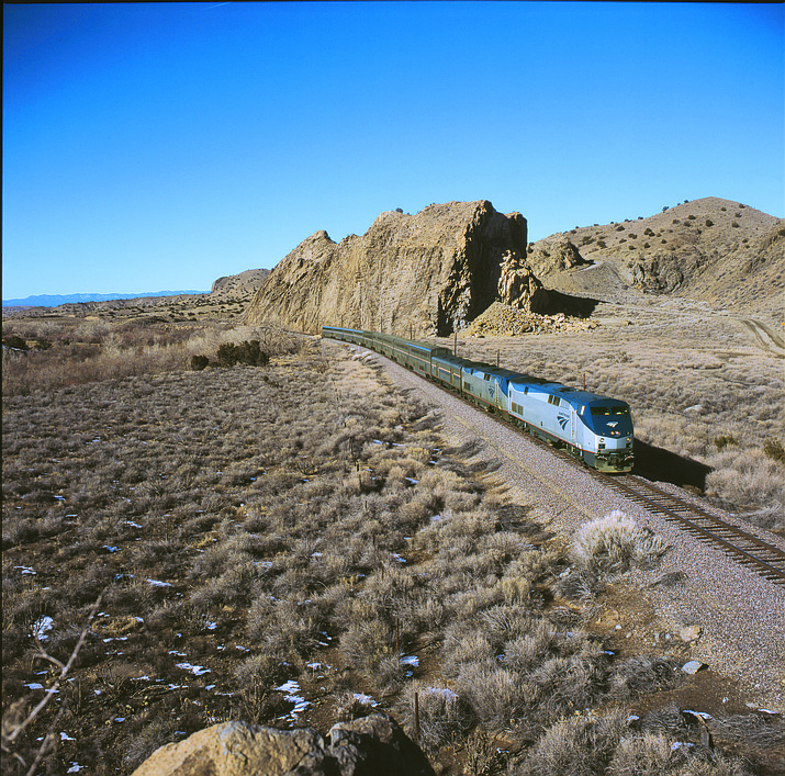 The Southwest Chief cruises through the desert of northern New Mexico. (Courtesy/Amtrak)