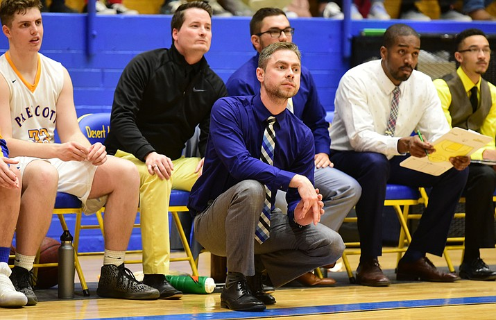 Former Prescott head coach Adam Neely watches the action as the Badgers take on rival Bradshaw Mountain on Jan. 31, 2017. Neely has stepped down as head boys basketball coach to take an administrative job with the Prescott Unified School District. A replacement may be named as early as next week. (Les Stukenberg/Courier, File)
