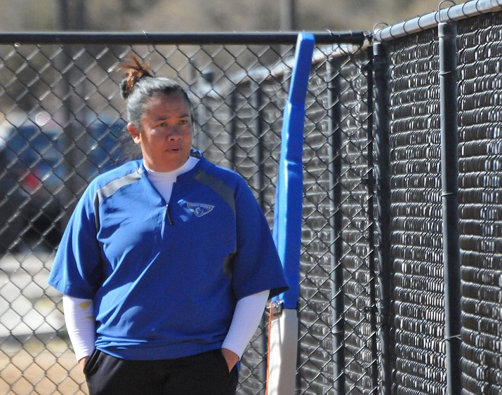 Embry-Riddle Athletic Director Jaime Long paces the dugout during a softball game for the Eagles in 2018. Long was forced to take over the program after head coach Marie Thomason took medical leave. Long was recognized by the California Pacific Conference as its 2017-18 Athletic Director of the Year, which was announced Thursday, June 7, 2018. (Brian M. Bergner Jr./Courier, File)