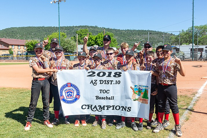 Prescott Valley poses for a team photo after claiming a 5-3 victory over Verde Valley in the annual Tournament of Champions title game Sunday, June 3, 2018, in Williams. (PVLL/Courtesy)