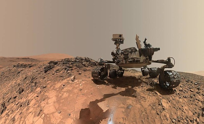 "This low-angle self-portrait of NASA's Curiosity Mars rover shows the vehicle at the site from which it reached down to drill into a rock target called ""Buckskin"" on lower Mount Sharp.