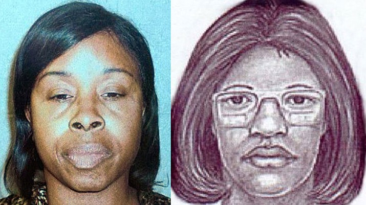 Gloria Williams and the original sketche released at the time of Kamiyah Mobley's kidnapping.