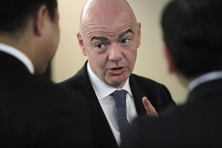 FIFA President Gianni Infantino speaks with participants of the Asian Football Confederation (AFC) meeting in Moscow, Russia, Monday, June 11, 2018. (Dmitri Lovetsky/AP Photo)