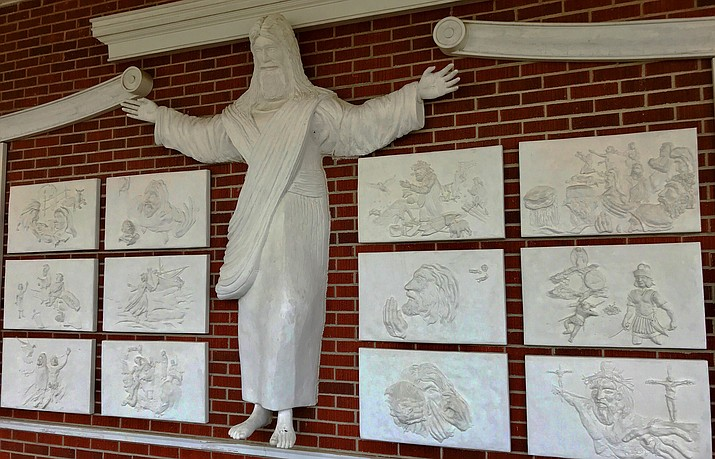 A statue of Jesus and reliefs are seen at Red Bank Baptist Church in Lexington, S.C., on Wednesday, May 30, 2018. (Christina L. Myers/Associated Press)