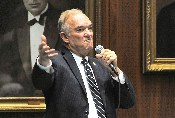 "Rep. Don Shooter is pictured in February, 2018, as he told his colleagues in the state House that although he has ""done stupid things,"" they should allow him to remain a member of the House. They did not agree, voting 56-3 for his expulsion. Now Brent Backus, a Republican contender for state Senate, is trying to short-circuit Shooter's bid for re-election to the Legislature. In legal papers filed in Phoenix Friday, Backus contends that Shooter isn't legally eligible to run. (Howard Fischer/Capitol Media Services, file)"