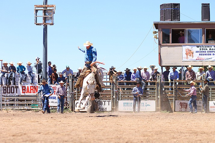 A cowboy rides in the saddle bronc competition at the 2017 Arizona Cowpuncher's Reunion Rodeo in Williams. The rodeo celebrates its 40th anniversary this year with events June 15-17. (Wendy Howell/WGCN)