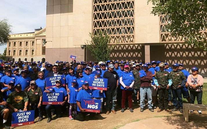 "Navajo Nation Council Delegate Nathaniel Brown with Kayenta Mine workers during the ""Yes to NGS"" rally at the Arizona State Capitol in Phoenix June 6. (Navajo Nation Council)"