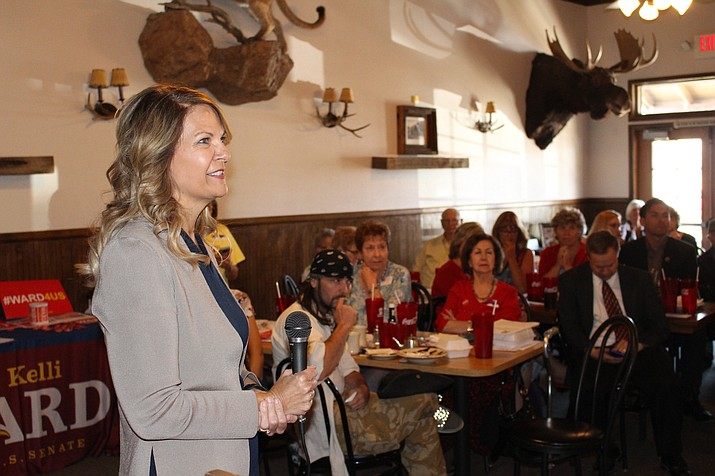 Kelli Ward, Republican candidate for U.S. Senate, speaks to about 50 people Tuesday at the Republican Women's Club meeting in Kingman. The former state senator has raised more than $2.5 million for her campaign. (Hubble Ray Smith/Daily Miner)