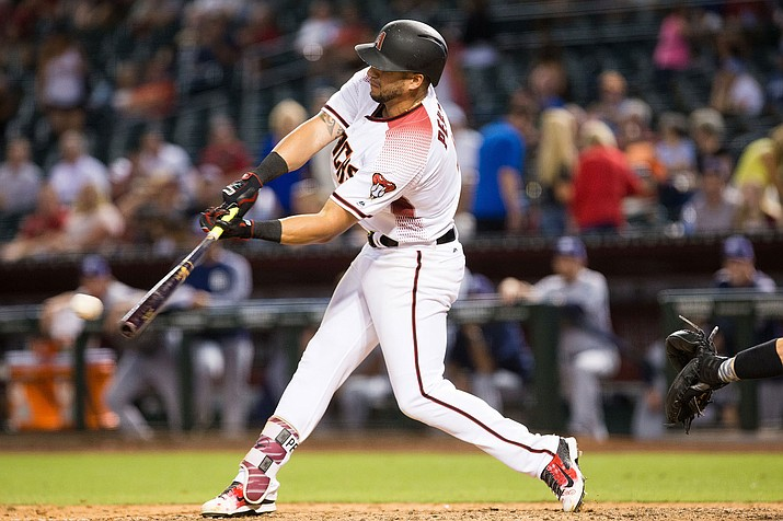 Arizona's David Peralta hit a two-run homer in a 5-4 loss to the Pirates Wednesday at Chase Field. (File photo courtesy of Taylor Jackson/Arizona Diamondbacks)