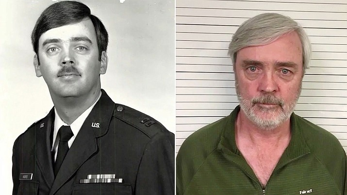 At left, a photo released by the U.S. Air Force shows Capt. William Howard Hughes, Jr., who was formally declared a deserter by the Air Force Dec. 9, 1983. He was apprehended June 6, 2018, by Air Force Office of Special Investigations Special Agents from Detachment 303, Travis Air Force Base, Calif., where he's awaiting pre-trial confinement. (U.S. Air Force photos)