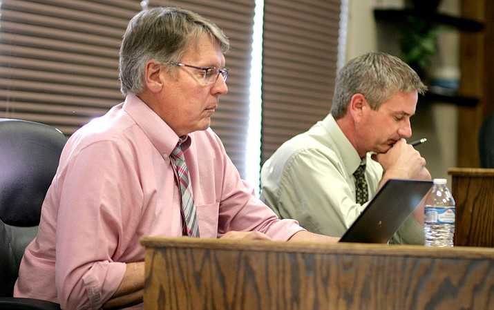 David Snyder, pictured at left, the business manager at Cottonwood-Oak Creek School District, said Thursday that the district plans to propose a 12-percent teacher salary increase as part of the fiscal year 2018-2019 budget. Also pictured, District Superintendent Steve King. (VVN/Bill Helm)